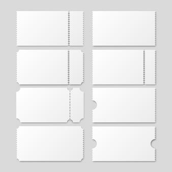 Biglietto bianco vuoto impostato per concerti o cinema