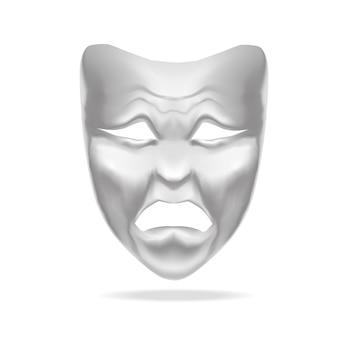 Teatro bianco vuoto della maschera di tragedia.