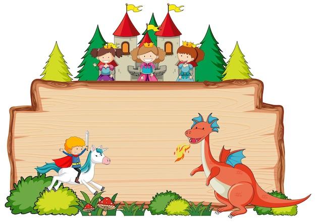 Insegna di legno in bianco con il personaggio dei cartoni animati di fantasia isolato
