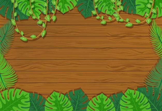 Fondo in bianco del bordo di legno con gli elementi delle foglie