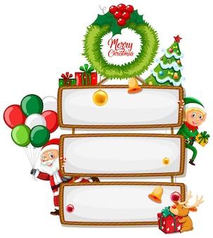 Segno di legno bianco con logo di carattere di buon natale con personaggio dei cartoni animati di natale su priorità bassa bianca