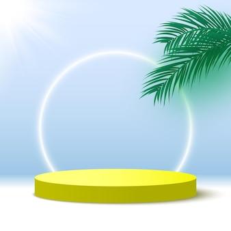 Podio giallo vuoto con piattaforma espositiva per prodotti cosmetici con piedistallo rotondo foglie di palma
