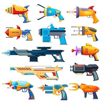 Pistole blaster, pistole vettoriali dei cartoni animati e armi a raggi. giocattoli per giochi per bambini, armi spaziali aliene o pistole per bambini e armi laser isolate su sfondo bianco, set di elementi di design dell'interfaccia utente di armi militari