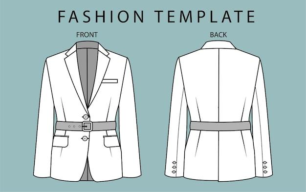 Blazer fashion flat sketches template.
