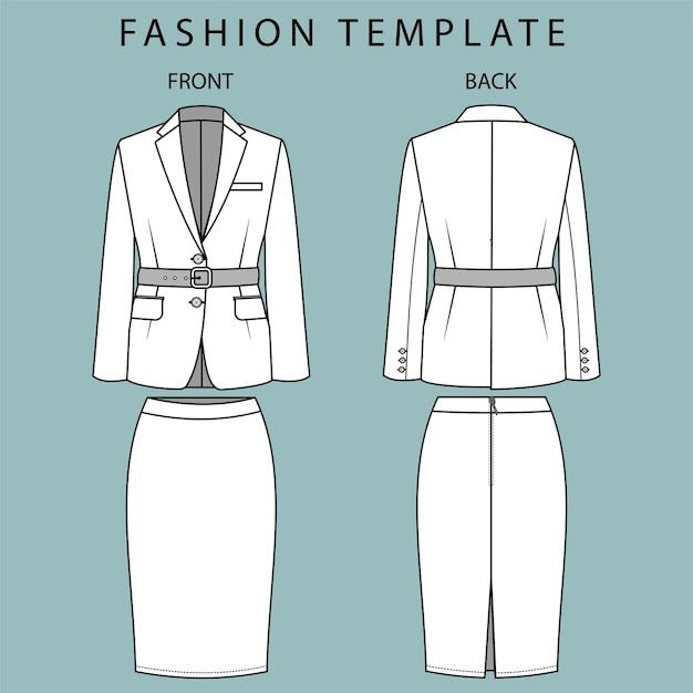 Giacca e gonna vista anteriore e posteriore. abbigliamento da ufficio. modello di schizzo piatto di moda