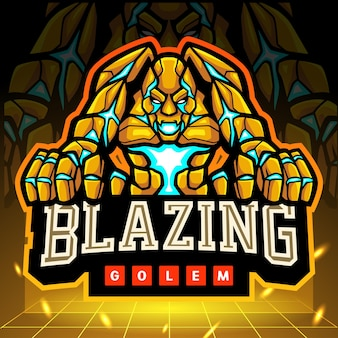 Mascotte del golem ardente. design del logo esport
