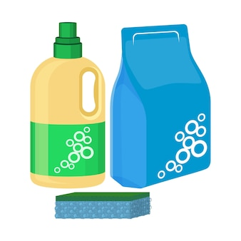 Flacone di candeggina con spugna, confezione di detersivo in polvere, detersivo detergente solubile in acqua