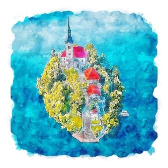 Illustrazione disegnata a mano di schizzo ad acquerello di bled slovenia