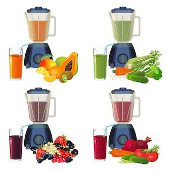 Frullatore e bicchiere di frullato fatto di set di frutta e verdura biologica