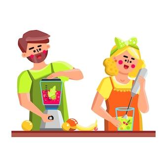 In blender tool giovane preparazione frullato vettore. il giovane e la donna preparano il cocktail della vitamina di freschezza dai frutti deliziosi in frullatore dell'attrezzatura della cucina. personaggi piatto fumetto illustrazione