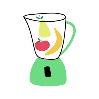 Frullatore con frutta mela banana pera illustrazione vettoriale piatta disegnata a mano concetto di sano