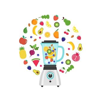 Frullatore con frullato, frullato di frutta, con una serie di frutti e bacche di vettore