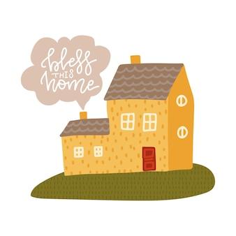 Benedici questa casa - frase scritta isolata Vettore Premium