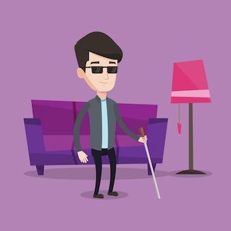 Uomo cieco con l'illustrazione del bastone.