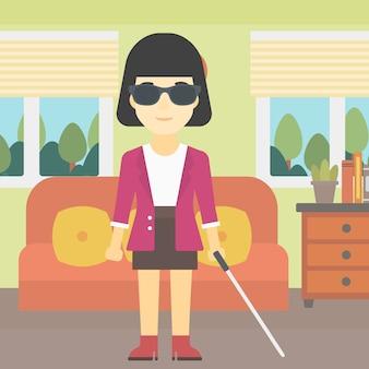 Donna cieca con illustrazione vettoriale bastone.
