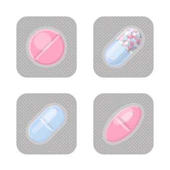 Confezioni blister con set realistico di pillole di forma diversa.