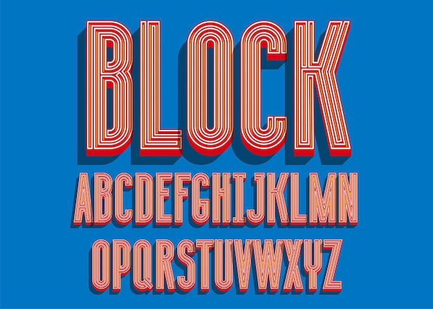 Blocca i caratteri in grassetto. lettere dell'alfabeto di colore 3d.