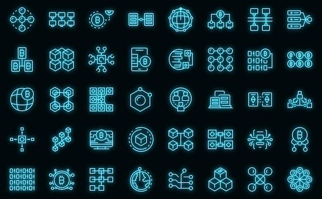 Set di icone della catena di blocchi. delineare l'insieme delle icone vettoriali della catena di blocchi di colore neon su nero
