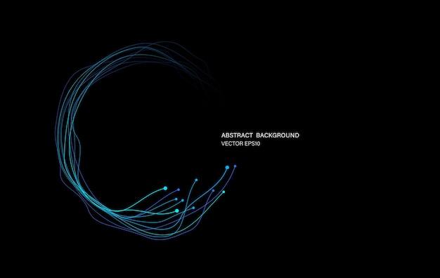 Linea di movimento dell'anello del cerchio della rete della catena di blocco nel concetto di luce blu, illustrazione vettoriale