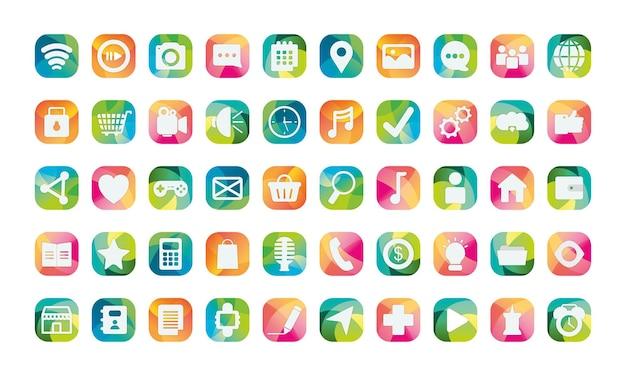 Blocca set di icone in stile piatto, app di social media multimediali