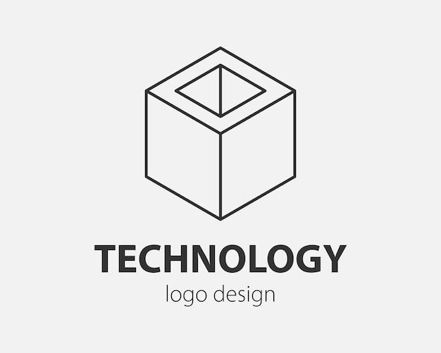Block logo abstract design tecnologia di comunicazione modello vettoriale stile lineare. intelligenza internet web icona del concetto di logo.