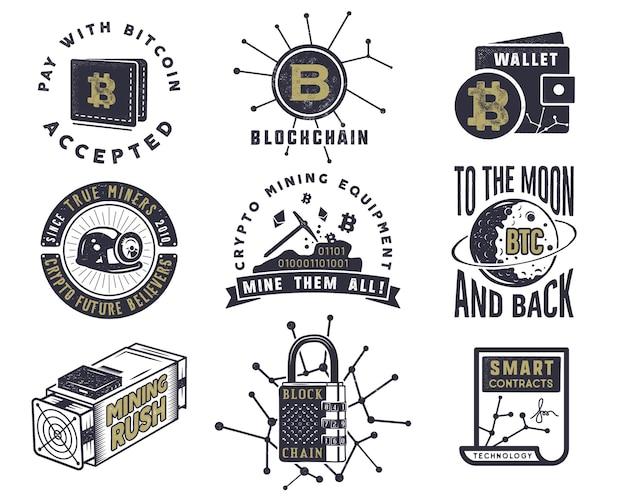 Blockchain, bitcoin, criptovalute emblemi e concetti impostati. loghi di risorse digitali. disegno monocromatico disegnato a mano vintage. distintivi di tecnologia. stock illustrazione vettoriale isolato su sfondo bianco.