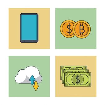 Icone blockchain e bitcoin