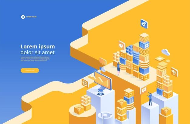 Concetto di blockchain. connessione digitale isometrica di blocchi o cubi
