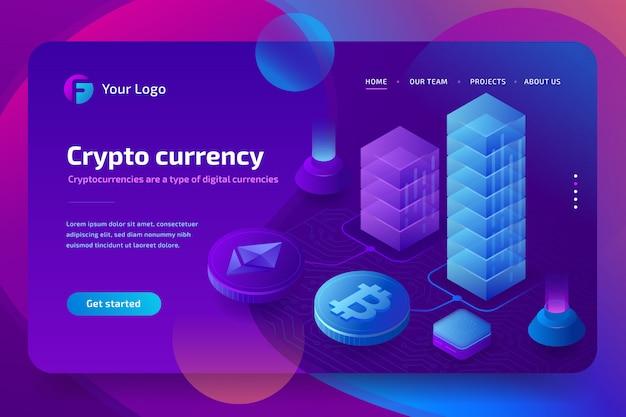 Grafico di crescita di blockchain e criptovaluta, corso bitcoin. illustrazione isometrica su sfondo ultravioletto