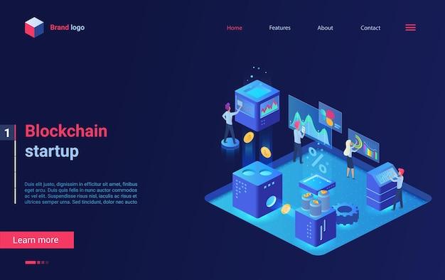 Pagina di destinazione isometrica della tecnologia di avvio della criptovaluta blockchain