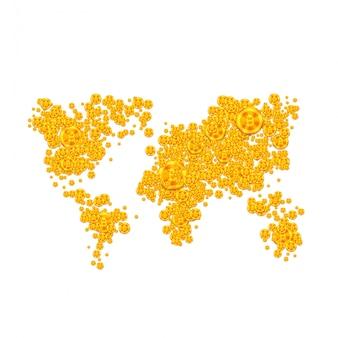 Icona blockchain con mappa globale