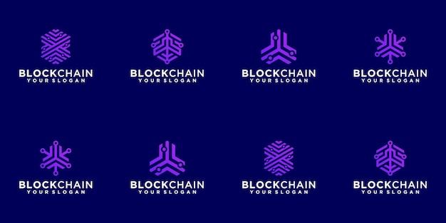 Collezione logo astratto tecnologia blockchain