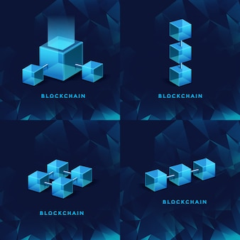 Concetto di tecnologia blockchain blockchain database dati cryptocurrency business finanza digitale bitcoin rete valuta crypto denaro sicurezza mining sfondo