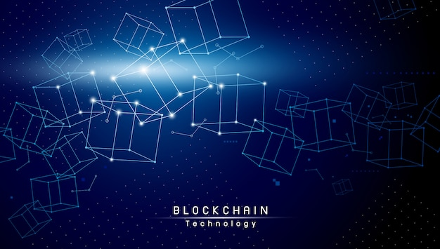 Tecnologia blockchain design su sfondo blu
