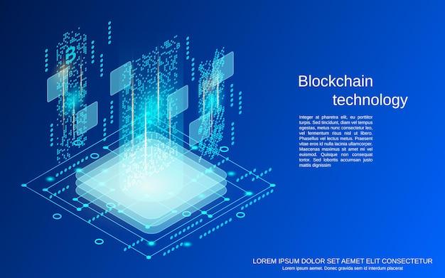 Illustrazione isometrica piana di concetto di vettore di tecnologia blockchain 3d
