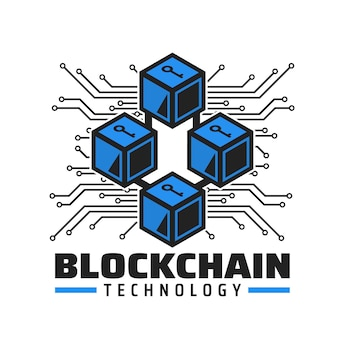 Icona della tecnologia blockchain, emblema del vettore del servizio di pagamento di criptovaluta. cubi blu con chiave, tracce della scheda madre del computer. tecnologia del denaro digitale, futuro database delle transazioni elettroniche