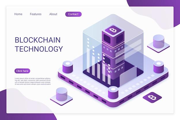 Tecnologia blockchain .modello di pagina di destinazione.