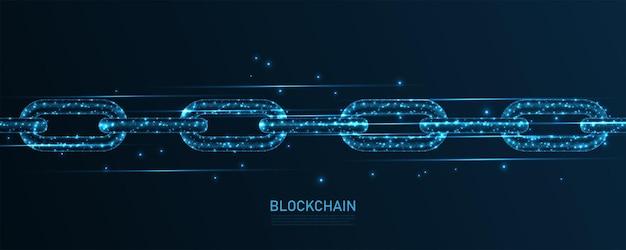 Connessione alla linea di tecnologia blockchain. design wireframe basso poli. fondo geometrico astratto. illustrazione vettoriale.