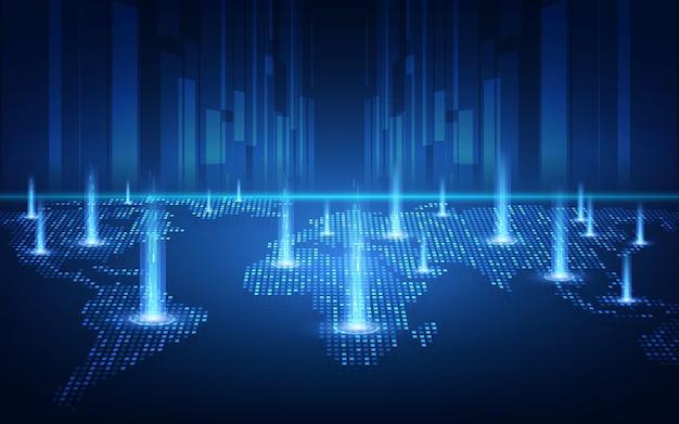 Tecnologia blockchain con concetto di connessione globale adatta per investimenti finanziari o affari di tendenze di criptovaluta