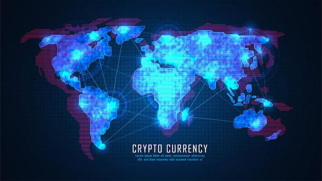 Tecnologia blockchain con concetto di connessione globale adatta per investimenti finanziari