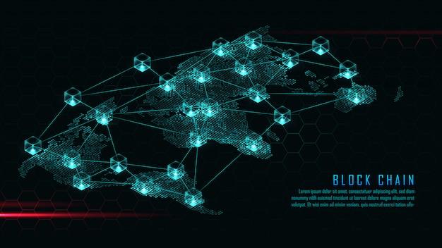 Tecnologia blockchain con concetto di connessione globale