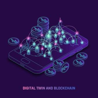 Blockchain che utilizza l'illustrazione isometrica della tecnologia dinamica dei gemelli digitali
