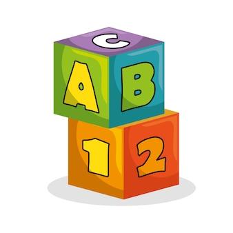 Icona isolata giocattolo di blocchi di gioco