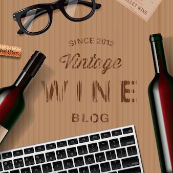Blog sull'immagine vettoriale del modello web della vite vintage del vino per gli amanti del vino