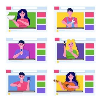 Concetto di blog online in design piatto