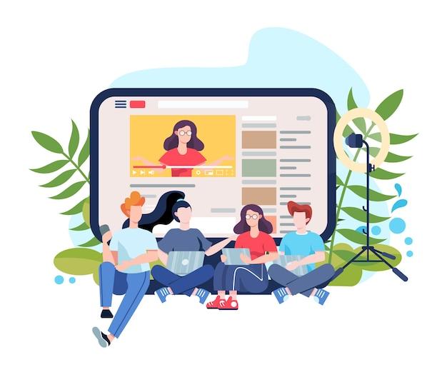 Illustrazione di concetto di blogger. condividi e guarda i contenuti su internet. idea di social media e rete. comunicazione in linea. illustrazione