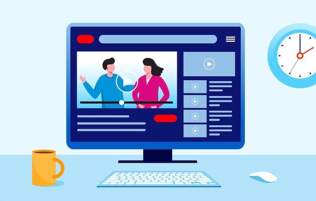 Blogger content creator intrattenimento concetto piatto illustrazione vettoriale per banner landing page