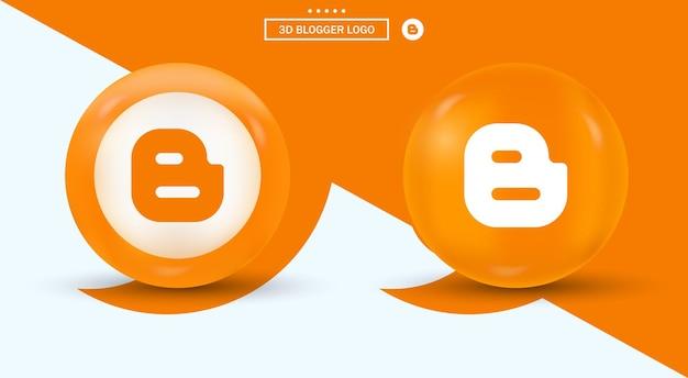 Logo blogger in cerchio logotipo di social media in stile moderno