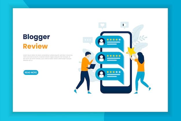 Pagina di destinazione dell'illustrazione della recensione di blogger