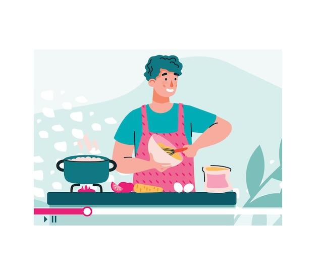 Blogger o vlogger spara tutorial di cucina fumetto illustrazione vettoriale isolato cartoon